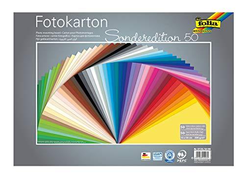 folia 6135/50 99 Fotokarton Mix 35 x 50 cm, 300 g/qm, Blatt Sortiert in 50 Farben-ideale Grundlage für zahlreiche Bastelideen