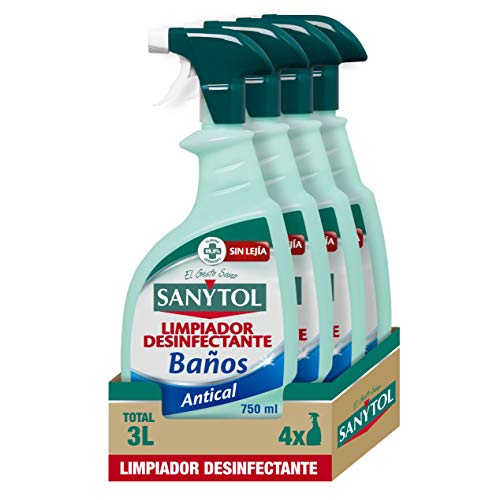 Sanytol – Limpiador Desinfectante Antical Baños, Elimina Bacterias, Hongos y Virus Sin Lejía, Perfume Eucaliptus - Pack de 4 x 750 ML = 3L