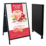 HUAZI Heavy Duty Sidewalk Sign A Frame Folding Sign 24 x 36 inches Sandwich Board Metal Double-Sided Display with 2 Corrugated Plastic Poster Boards Suitable for Indoor Outdoor,Black