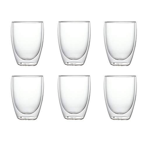 NorCWulT 6PCS Hitzebeständige Doppelwand-Glasschalen-Bier-Espresso-Kaffeetasse Set Handmade Tasse Tee Glas Whisky-Glas Becher Trinkgefäß