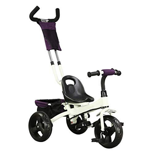 GYF Triciclo Infantil Triciclo for niños Multifunción 3 en 1 Triciclo Rosa con Putter de Mano 2-6 años Bebé Triciclo al Aire Libre Blanco Diseño de Almacenamiento Grande (Color : White)