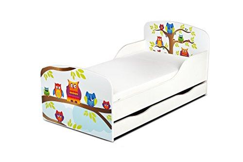 Leomark Cama Infantil Completa de Madera - Búhos - Marco de Cama, Colchón, Somier, cajón, Blanco Muebles para Niños, Moderno Dormitorio, Impresa Mobiliario, Espacio para Dormir: 140/70 cm