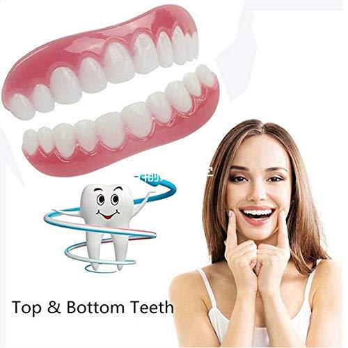 MUYEY Superior e Inferior los Dientes Falsos Cubren Sonrisa chapas de Ajuste cómodo Flex dentadura Pegar Llaves Falsas de Doble hilera de Dientes,9sets