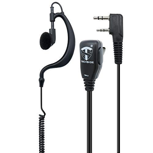 TECHSIDE Microfono Auricolare Avvolgente a 2 pin Kenwood | Per Radio ricetrasmittenti | Compatibile con TI-F8+ Midland G10, G11V, CT890, BaoFeng UV-82, UV5RA | Vigilanza Sicurezza SoftAir