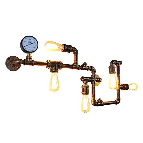 JHLBYL Lámpara de Pared Industrial Steampunk Lámpara de Pared de Metal Tubería de Agua Antigua Creativa Iluminación Industrial Accesorios de Luces de Bronce Retro Para el Hogar