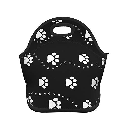 SWEET TANG Kids Funny Cool Lunch Tote Bags Dog Paw Print Style Black for Picnic School Travel Stain Proof and Leak Proof Insulated Lunch Containers Large Capacity Food Organizer