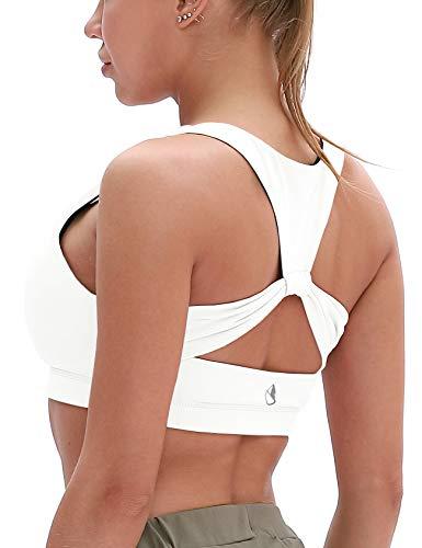 icyzone Damen Sport-BH Ohne Bügel Bustier Racerback Yoga BH mit Abnehmbare Gepolstert (S, Off White)