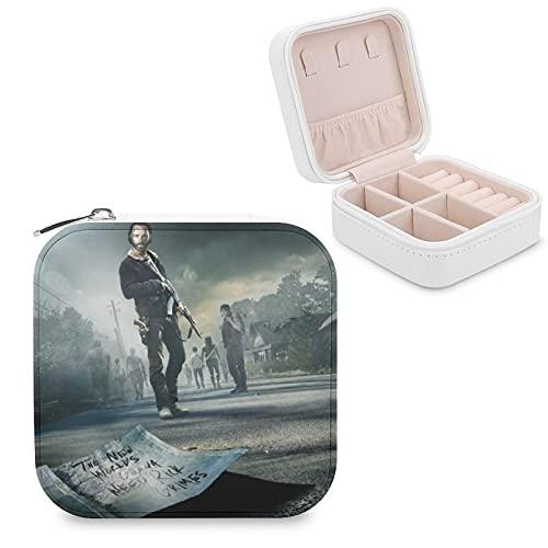 The Walking Dead - Joyero de piel sintética, pequeño, portátil, de viaje, caja de almacenamiento para collares, pendientes, anillos, joyería para niñas y mujeres