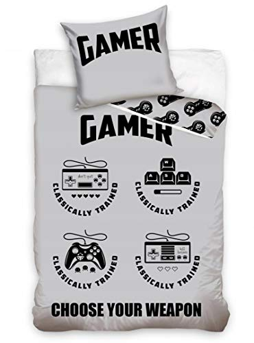 AHS Gamer Bedding Set Single Duvet Cover 140 x 200cm 100% Cotton Game Consoles Gadget
