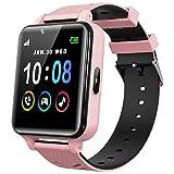 Smartwatch Kinder Telefon für Mädchen und Jungen mit Spielen Musik Player HD Touchscreen Kamera Anruf Uhr SOS Taschenlampen Wecker Taschenrechner Smart Watch Kids (Rosa)