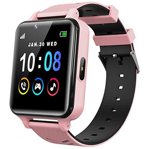 Kinder Smart Watch für Mädchen und Jungen mit Spielen Musik Player Kamera HD Touchscreen Anruf Telefon Uhr SOS Anruf Spiel Smartwatch für Kinder (Rosa)