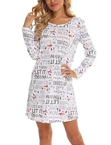 ENJOYNIGHT Damen Baumwolle Nachtwäsche Langarm Nachthemd Print Tee Sleep Dress(XX-Large,Schnee)
