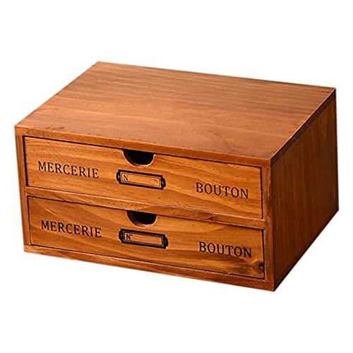 OhhGo Organizador de escritorio de madera, caja de almacenamiento de joyería de escritorio de madera caja de almacenamiento de joyería para pendientes anillo collar