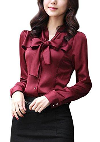[ルナー ベリー] ブラウス 長袖 きれいめ サテン シャツ リボンタイ オフィス レディース 3803 (S, レッド) ワインレッド 赤 シャツ風 品のある服 プライマーシャツ 抜き襟風 3803 (S, レッド)