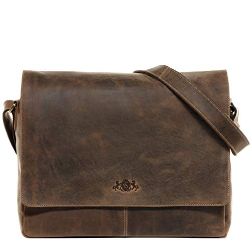 SID & VAIN Messenger Bag Spencer XL Laptop Bag Real Leather 15 inch Laptop Business Briefcase Leather Bag Women and Men Brown