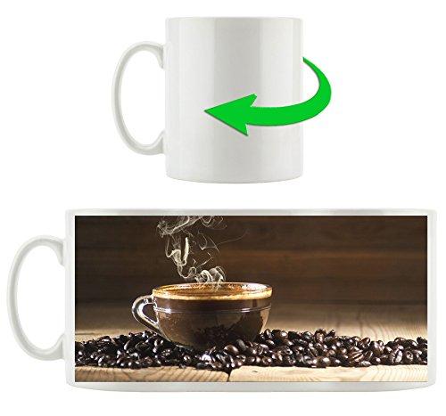 dampfende Kaffeetasse mit Kaffeebohnen , Motivtasse aus weißem Keramik 300ml, Tolle Geschenkidee zu jedem Anlass. Ihr neuer Lieblingsbecher für Kaffe, Tee und Heißgetränke.