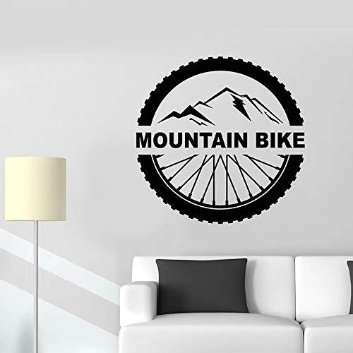 JXMN DIY Bicicleta de montaña calcomanía de Pared Letras Deportes Extremos Rueda de Bicicleta Vinilo Etiqueta de la Ventana Mural Dormitorio Sala de Estar decoración del hogar91x91cm