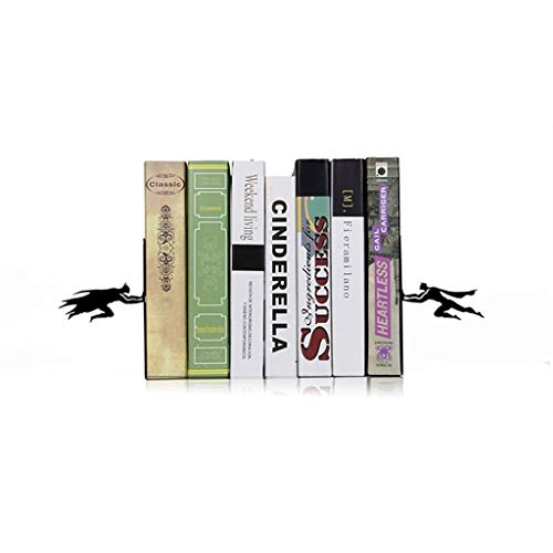 DUOER home Sujetalibros Decorativo Libro y héroe |Metal Superhero Book Ends |Sujetalibros únicos |Regalos for Geeks |Regalos for Amantes de los Libros |Cool Book Stopper (Color : Black)