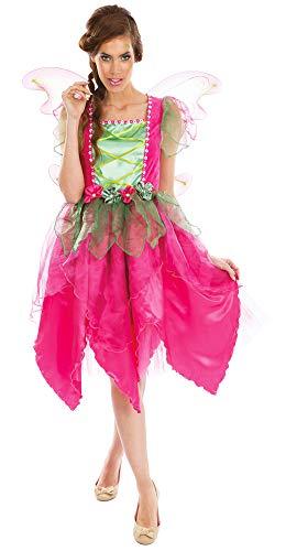 Das Kostümland Disfraz de Hada Mujer – Rosa Verde – Hada de Flores Hada Hada Bosque Disfraz Infantil Cuento de Hadas Carnaval Rosa/Verde XS