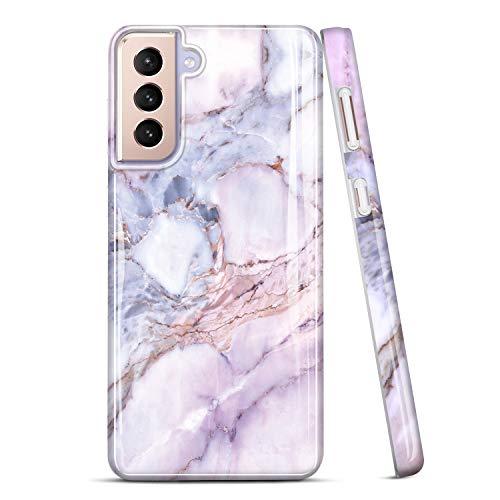 JAHOLAN Galaxy S21 Plus Hülle Handyhülle TPU Silikon Weiche Schlank Schutzhülle Handytasche Flexibel Hülle Handy Hülle für Samsung Galaxy S21+/S21 Plus 5G - Marmor Glitter Sparkle Purple Pink