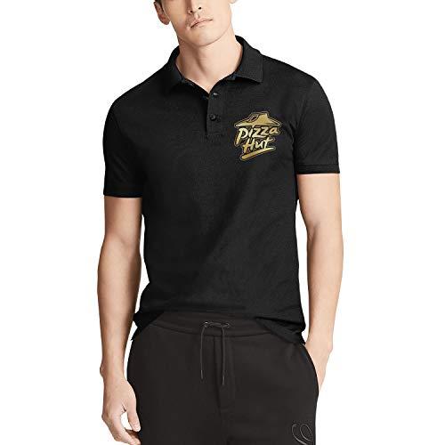 Men Black Short Sleeve Collar Polo Shirt Pizza-Hut-Logo-Flash-Gold-Order-Pizza-Online- Slim Fit Buttons Tee Tops