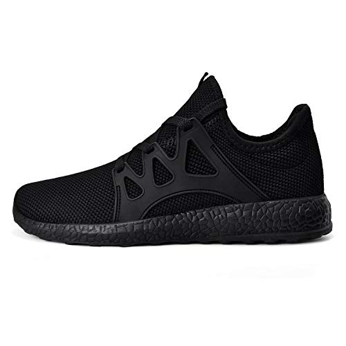 MARSVOVO Womens Walking Sports Non-Slip Tennis Shoes Lace-up Athletic Breathable Mesh Fashion Sneakers Black Size 10.5