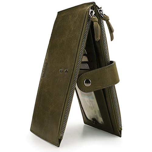 OTTO ANGELINO Cartera en Forma de Libro con 2 Compartimentos de Cuero Auténtico y Ranuras Aptas para Móvil - Bloqueo RFID