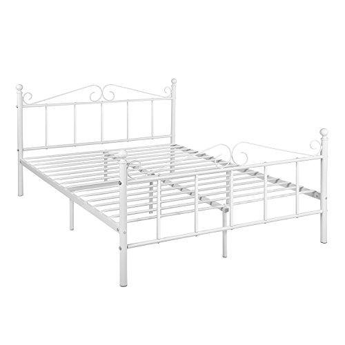 DORAFAIR Cama Doble Estructura de Cama de Metal para Niños y Adultos, Recubrimiento en Polvo, Blanco 140 x 190 cm
