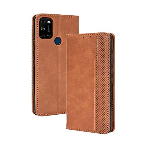 TOPOFU Leder Hülle für Wiko View 5/5 Plus, Premium Flip Wallet Tasche mit Ständer & Kartenfächer, PU/TPU Magnetic Lederhülle Handyhülle Schutzhülle für Wiko View 5/5 Plus (Braun)