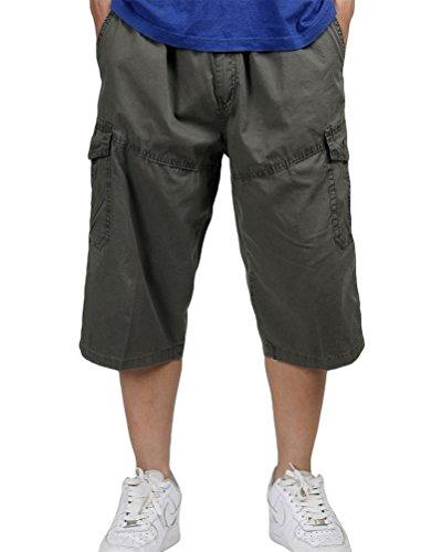 NiSeng Traspirante Pantaloncini da Uomo 3/4 Bermuda Cargo Shorts con Elastico in Vita Verde Militare Asia 3XL/EU 52
