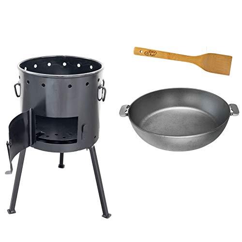 4BIG.fun Utschag Uchag Campingofen Bratpfanne Deckel 33cm Durchmesser Kochlöffel Pfannenwender Grillen Geschenk BBQ