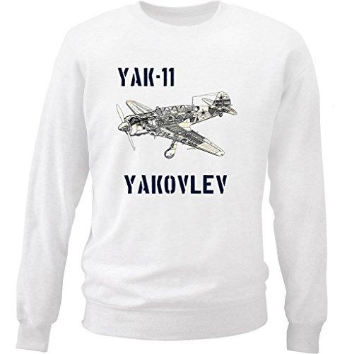 teesquare1st Men's YAK-11 YAKOLEV White Sweatshirt Size XXLarge