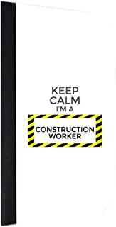 Keep Calm I'm a Construction Worker Jacks Outlet Samsung Galaxy s8 Plus/ s8+ Phone Case with Closing Flip Cover and Credit Card Slots