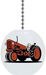 Orange Vintage Tractor Solid Ceramic Fan Pull