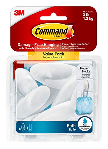 Command Bath Medium Hook Value Pack, Clear Frosted, 6-Medium Hooks, 6-Water Resistant Strips, Organize Damage-Free