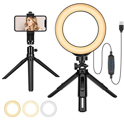 """6""""LED Anello luminoso Luminosità regolabile con supporto per telefono Anello luminoso con treppiede per trucco/selfie/foto/video"""