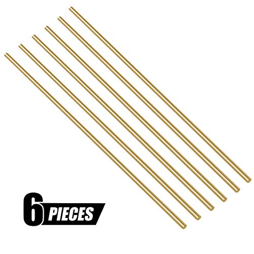 Swpeet 6Pcs 1/10 Inch Brass Solid Round Rod Lathe Bar Stock Kit, Diameter 3mm Length 300mm, Perfect for Various Shaft, Miniature Axle, Model Plane, Model Ship, Model Cars