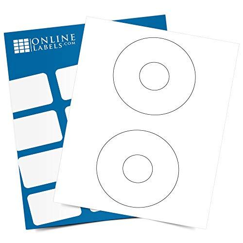 4.5 Inch CD/DVD Labels - Pack of 200 CD/DVD Stickers, 100 Sheets - Inkjet/Laser Printer - Online Labels