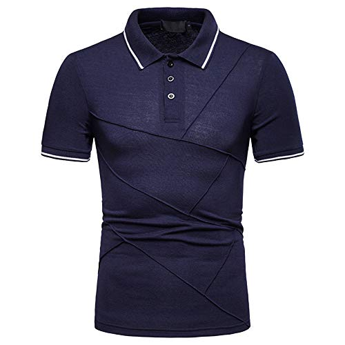KXZD Mens Polo Shirts Summer Short Sleeve T-Shirt Breathable Sports Lapel Polo Shirt Tops Slim Fit Basic Fashion Short Sleeve Casual Top Blouse Shirts Golf Polo Shirt Personality Tops