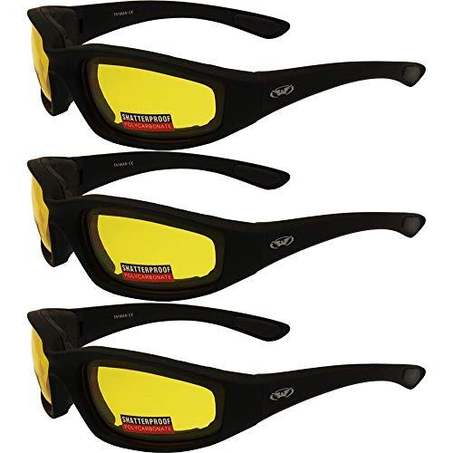 3 paia di occhiali da sole da moto con imbottitura in schiuma, colore giallo