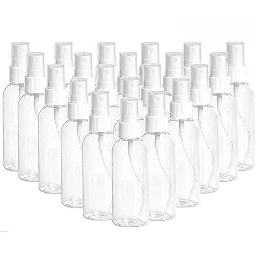 Lot de 20 flacons pulvérisateurs de 100 ml - Portable - Rechargeable - Durables - Pulvérisateurs de liquide - Flacons vides - En plastique transparent