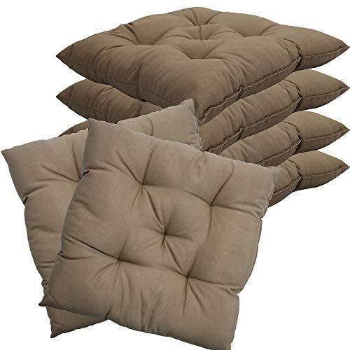 nxtbuy Stuhlkissen 6er Set 38x38 cm Beige - Gepolstertes Sitzkissen für Indoor und Outdoor - in vielen Farben erhältlich