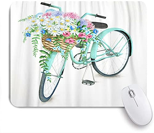 HASENCIV Mouse Pad,Blue Vintage Watercolor Turquoise Bicycle with Beautiful Flower Basket Hand Summer Bike Aster Holland,Mouse Mat Non-Slip Rubber Base Computer Desk Pad for Home and Office 9.5'x 7.9'