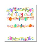 Stonehouse Collection Birthday Table Tent Place Cards - 25 Happy Birthday Guest Seating Name Cards - Party Table Tents - Name Cards (Balloons & Confetti)