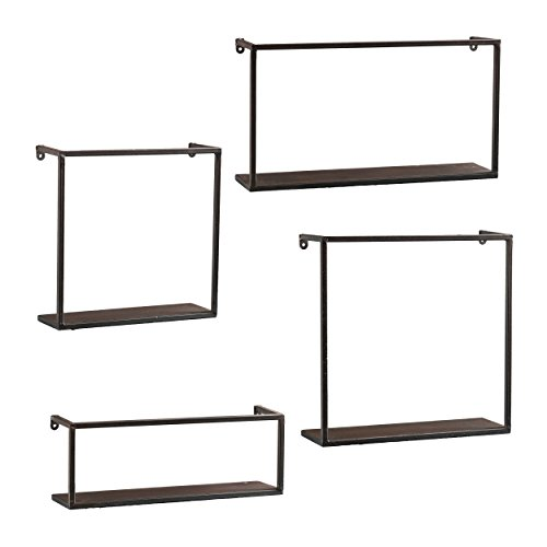 Zyther Metal Wall Shelves - 4 pc Set - Antique Black Finish w/ Comtemporary Styling