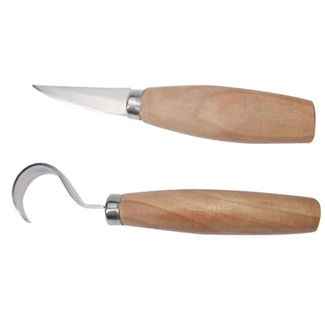 IETONE Set of 2 Wood Carving Knives Set, Hook Knife for Carving Spoons Bowls Kuksa and Cups, Carving Whittling Cutting Knife for Fine Chip Carving Wood