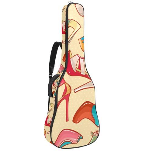 Funda de Guitarra Española Tacones altos Bolsa Acolchada Para Guitarra Acústica con Asa de Transporte y Correa Para el Hombro 109x43x12cm