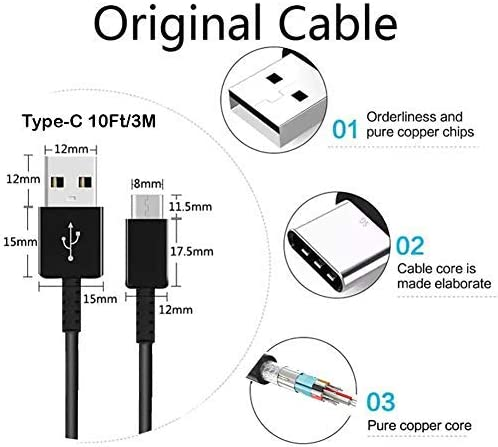 Authentic Short 8inch USB Type-C Cable Works with LeEco Le 1s Eco Also Fast Quick Charges Plus Data Transfer! Black