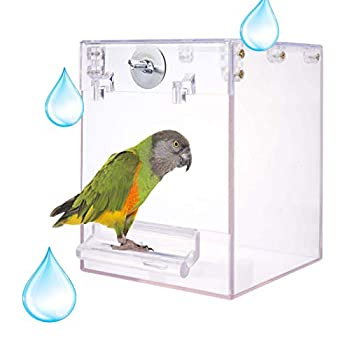 chenming Bird Bath for Cage,Parrot Birdbath Shower Accessories,No-Leakage Design Hanging Bathtub Tube Shower Box Bowl Cage Accessory for Pet Birds Canary Lovebirds Budgies