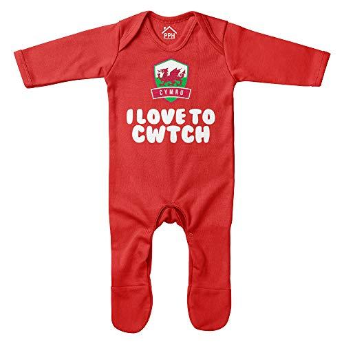 Purple Print House Baby Strampler I Love to Cwtch – lustige Ansage von Fußball, Rugby, walisische Geschenke für Baby – Babys Cymru-Fan Gr. 0-3 Monate, rot